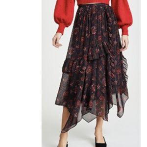 Ulla Johnson Torri Skirt in Noir Floral